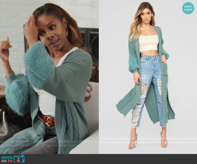 Cuddle Season Cardigan by Fashion Nova worn by Candiace Dillard Bassett  on The Real Housewives of Potomac