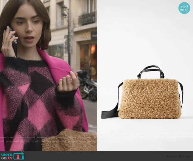 Faux Fur Teddy Bag by Zara worn by Emily Cooper (Lily Collins) on Emily in Paris