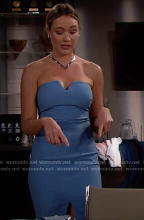 Flo's blue strapless mini dress on The Bold and the Beautiful
