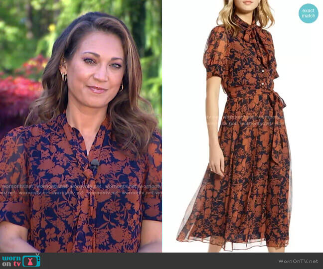 Floral Print Button Front Pleated Chiffon Dress by 1901 worn by Ginger Zee  on Good Morning America