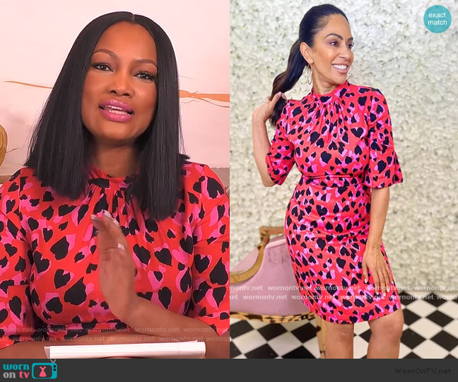 Red High Neck Mini Dress Heart Print by Forever Unique worn by Garcelle Beauvais  on The Real