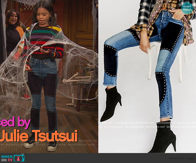 Suede Studded 501 by Free people x Levi worn by Tess O'Malley (Sky Katz) on Ravens Home