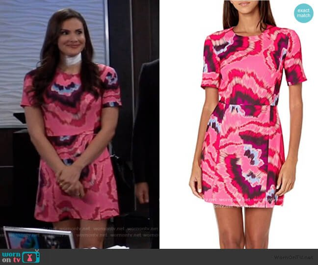 Whisper Light Printed Dresses by French Connection worn by Brook Lynn Quartermaine (Amanda Setton) on General Hospital