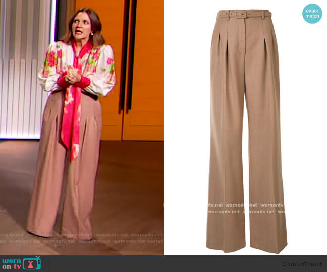 Dora belted wide-leg trousers by Gabriela Hearst worn by Drew Barrymore  on The Drew Barrymore Show