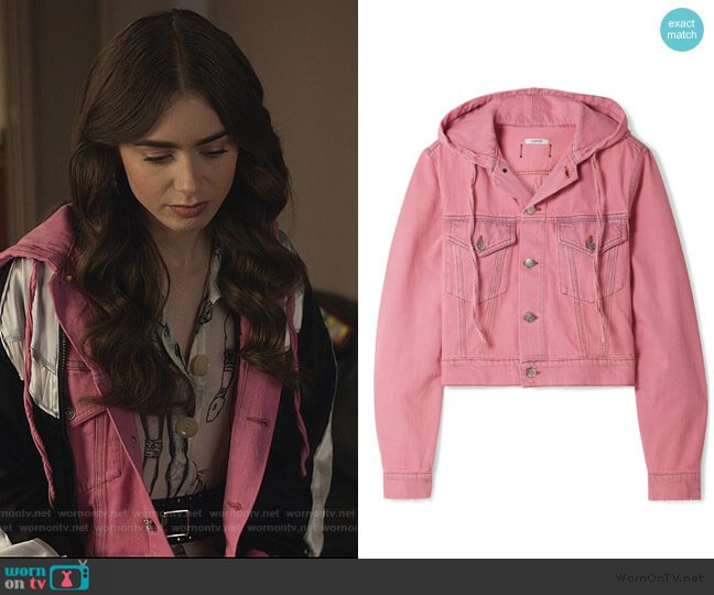 Hooded cropped denim jacket by Ganni worn by Emily Cooper (Lily Collins) on Emily in Paris