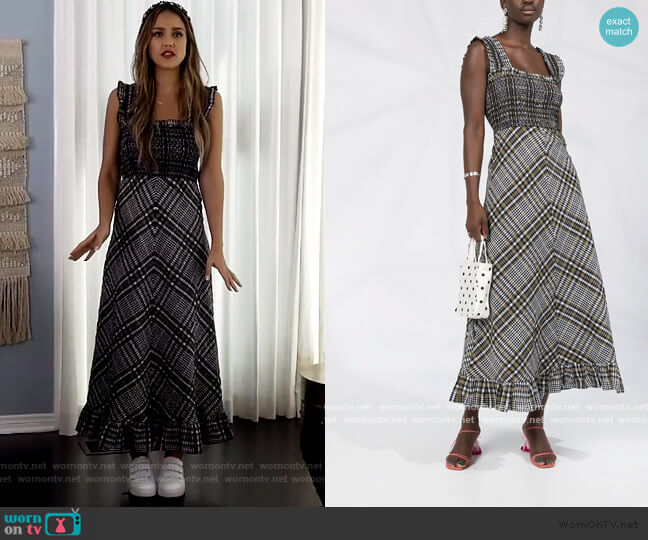 Check Print Flared Dress by Ganni worn by Jessica Alba on The Drew Barrymore Show