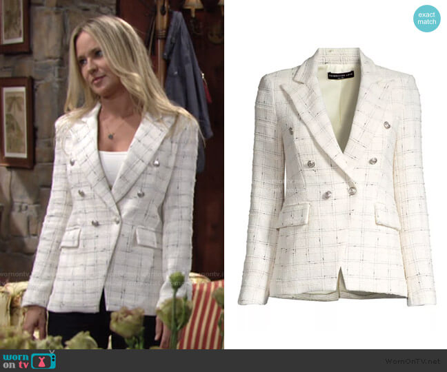 Alexa Bouclé Tweed Blazer by Generation Love worn by Sharon Collins (Sharon Case) on The Young & the Restless