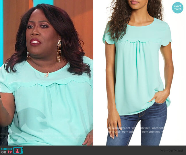 Gibson x Fall Refresh Fancy Ashley Woven Scallop Top by Gibson Look worn by Sheryl Underwood  on The Talk