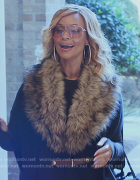 Gizelle's fur trim poncho on The Real Housewives of Potomac