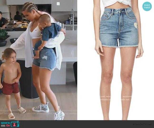 Bombshell Distressed Cutoff Denim Shorts by Good American worn by Khloe Kardashian  on Keeping Up with the Kardashians