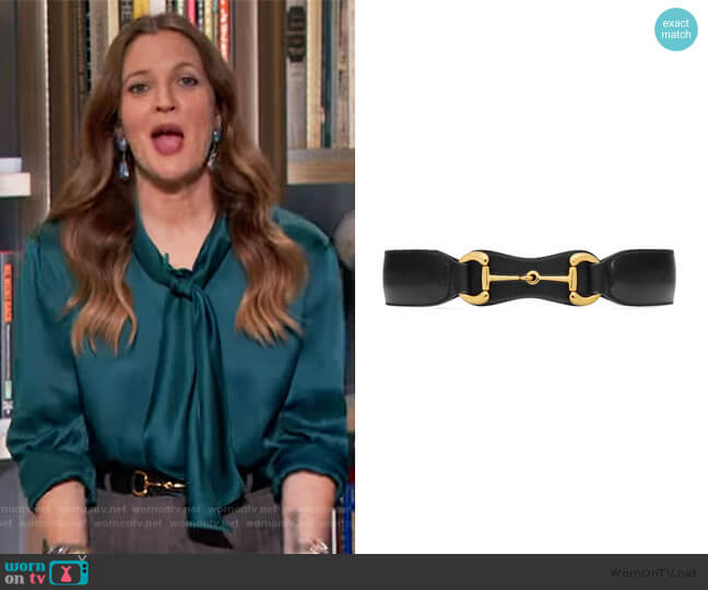 Horsebit leather belt by Gucci worn by Drew Barrymore  on The Drew Barrymore Show