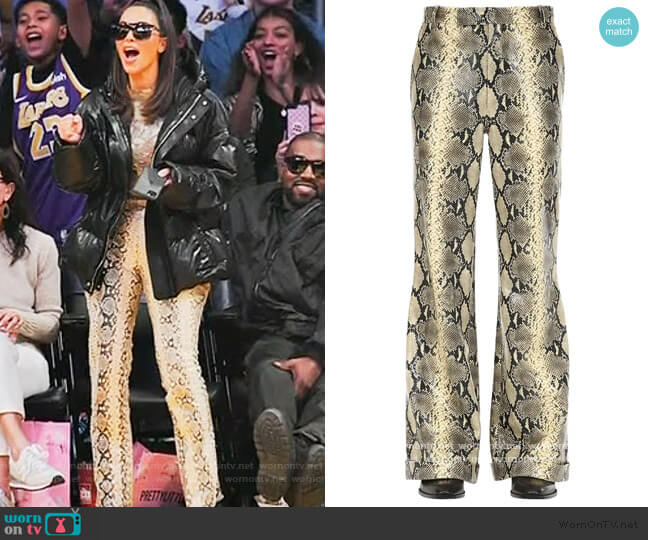 Flared Python Leather Pants by Gucci worn by Kim Kardashian  on Keeping Up with the Kardashians