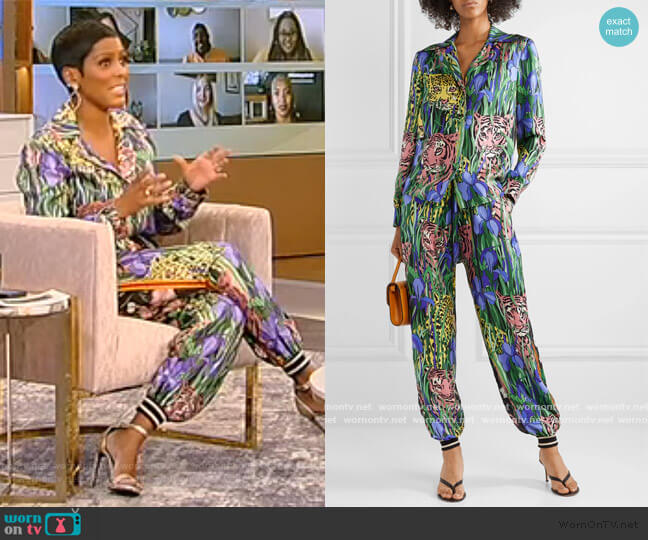 Printed silk-twill shirt and Pants by Gucci worn by Tamron Hall  on Tamron Hall Show