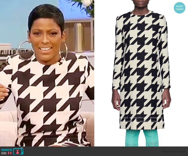 Houndstooth Long Sleeve Silk & Wool Crepe Shift Dress by Gucci worn by Tamron Hall  on Tamron Hall Show