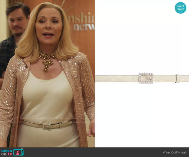 Gucci Leather belt with Square G buckle worn by Margaret Monreaux (Kim Cattrall) on Filthy Rich