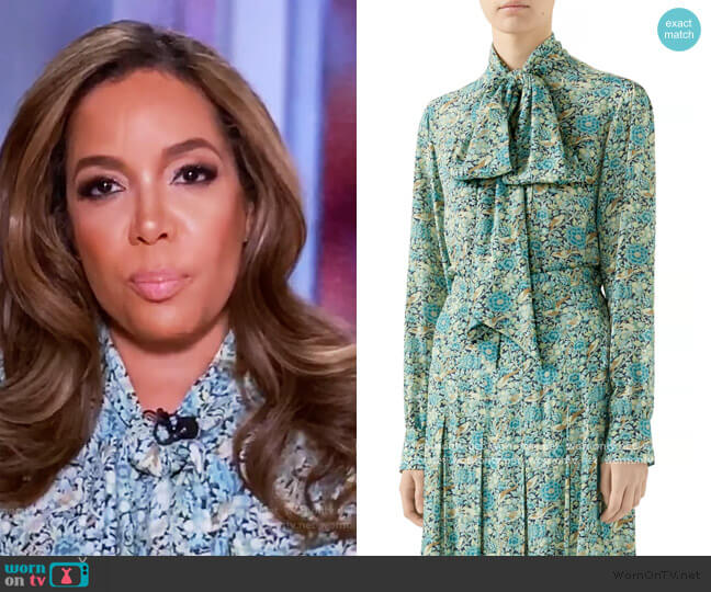 Liberty Floral Crêpe Shirt by Gucci worn by Sunny Hostin  on The View