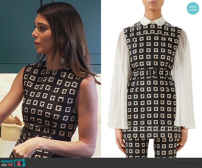 Square-G Logo Print Belted Faille Tunic by Gucci worn by Kendall Jenner  on Keeping Up with the Kardashians