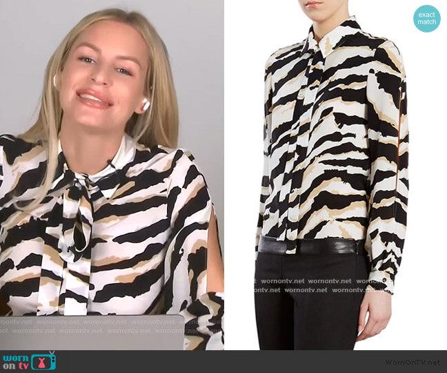 Tiger-Print Crepe de Chine Shirt by Gucci worn by Morgan Stewart  on E! News