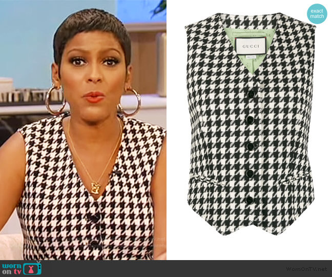 Houndstooth Single Breasted Waistcoat by Gucci worn by Tamron Hall  on Tamron Hall Show