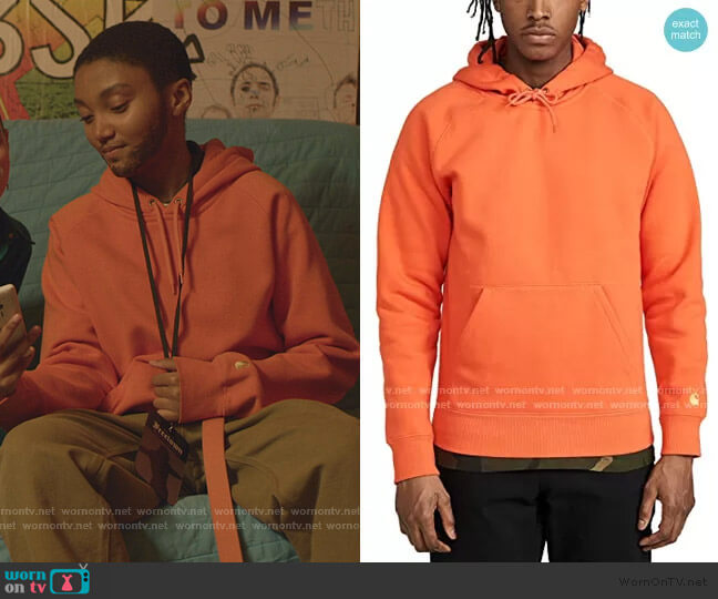 Hooded Chase Sweatshirt by Carhartt WIP worn by Caitlin Poythress (Jordan Kristine Seamón) on We Are Who We Are