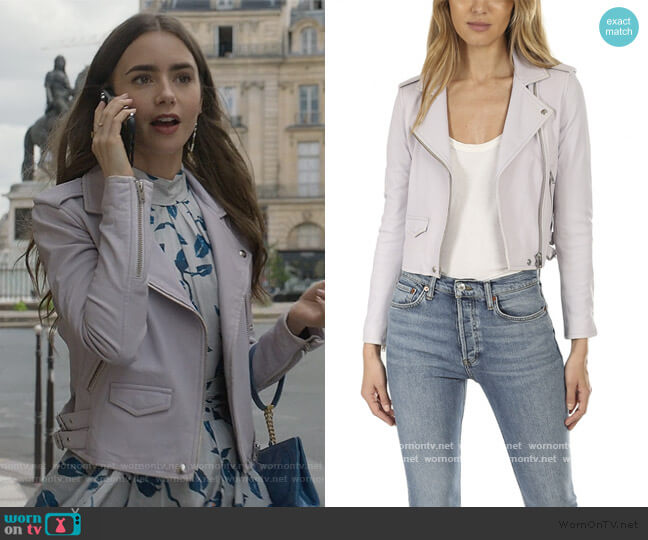 Ashville Jacket by IRO worn by Emily Cooper (Lily Collins) on Emily in Paris