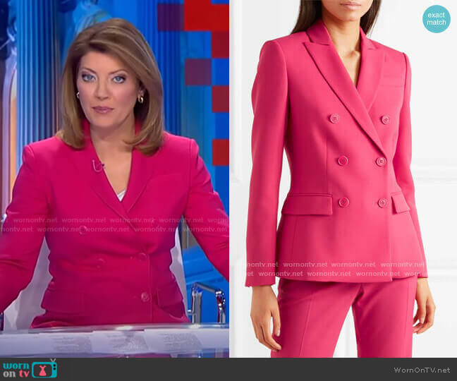 Indiana Double-Breasted Blazer by Altuzarra worn by Norah O'Donnell  on CBS Evening News