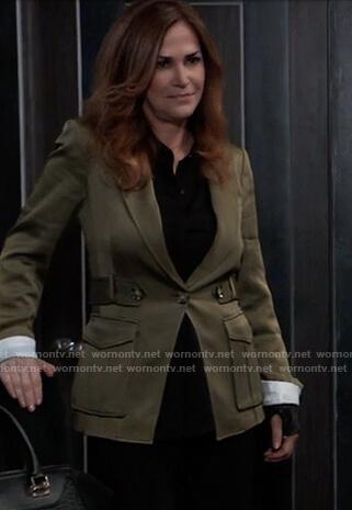 Jackie Templeton's green belted blazer on General Hospital