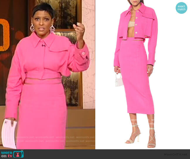 Esterel jacket and La Jupe Valerie Skirt by Jacquemus worn by Tamron Hall  on Tamron Hall Show