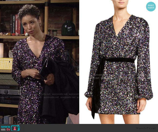 Polly Sequin Long-Sleeve Mini Wrap Dress with Tie Waist by Jay Godfrey worn by Elena Dawson (Brytni Sarpy) on The Young & the Restless
