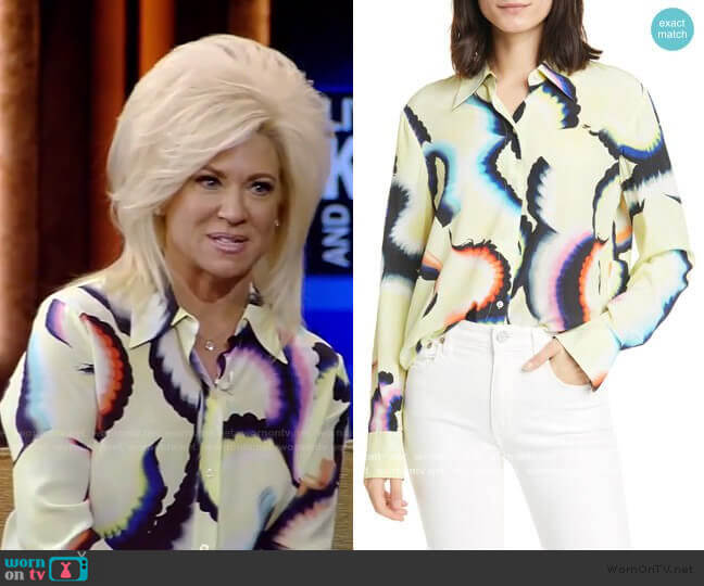 Jayne High/Low Stretch Silk Shirt by A.L.C. worn by Theresa Caputo on Live with Kelly and Ryan