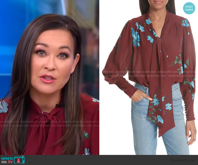 Angeletta Floral Tie-Neck Silk Blouse by Joie worn by Eva Pilgrim  on Good Morning America