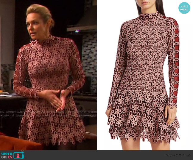 Gupure Floral Embroidery Flounce Dress by Jonathan Simkhai worn by Nicole Walker (Arianne Zucker) on Days of our Lives