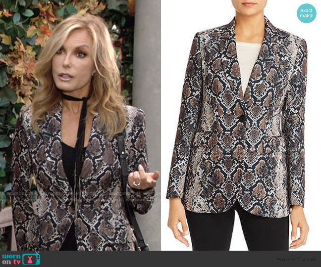 Jovanna Snakeskin-Print Blazer by Elie Tahari worn by Lauren Fenmore (Tracey Bregman) on The Young & the Restless