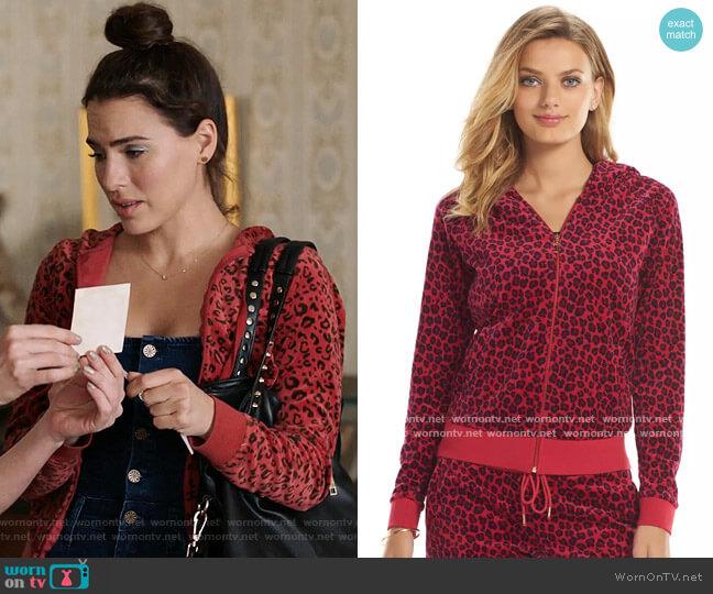 Juicy Couture Leopard Print Velour Hoodie worn by Ginger Sweet (Melia Kreiling) on Filthy Rich