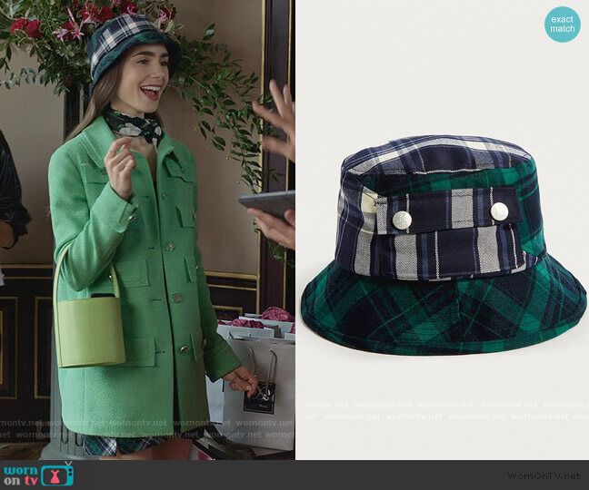 Plaid on Plaid Bucket Hat by Kangol worn by Emily Cooper (Lily Collins) on Emily in Paris