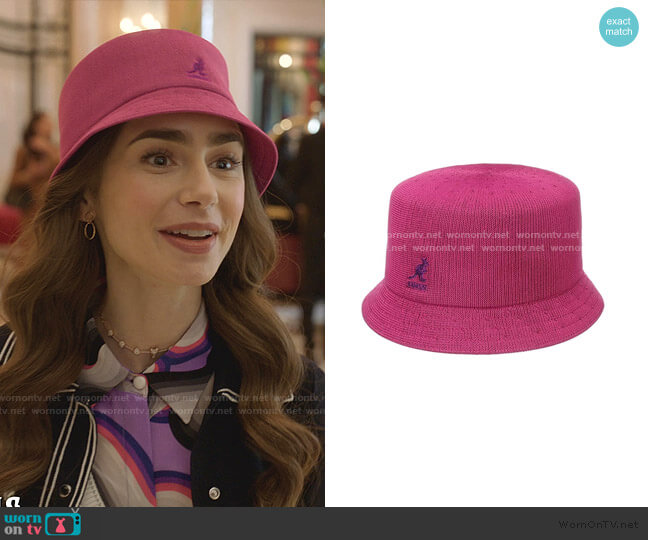 Tropic Bin Bucket Hat by Kangol worn by Emily Cooper (Lily Collins) on Emily in Paris