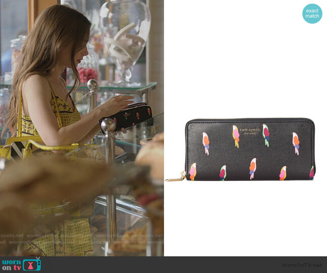 Sylvia Flock Party Slim Wallet by Kate Spade worn by Emily Cooper (Lily Collins) on Emily in Paris