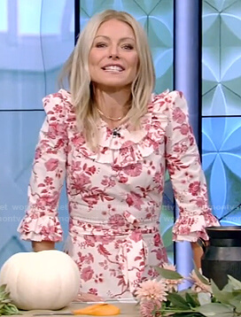 Kelly's floral print ruffle dress on Live with Kelly and Ryan