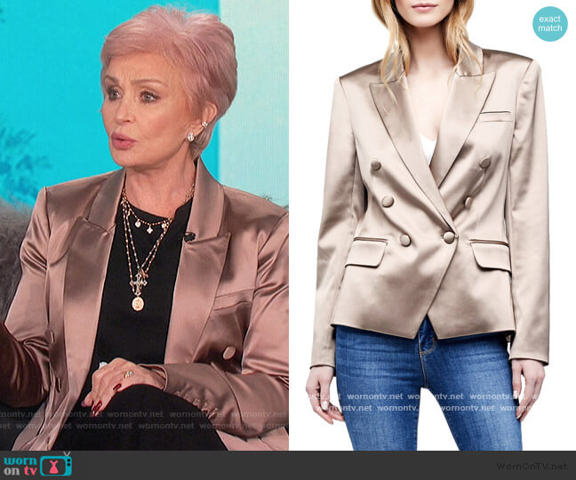 Kenzie Satin Double Breasted Blazer by L'Agence worn by Sharon Osbourne  on The Talk
