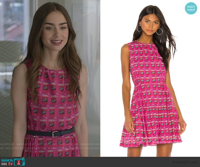 All Over Rice Bag Dress by Kenzo worn by Emily Cooper (Lily Collins) on Emily in Paris