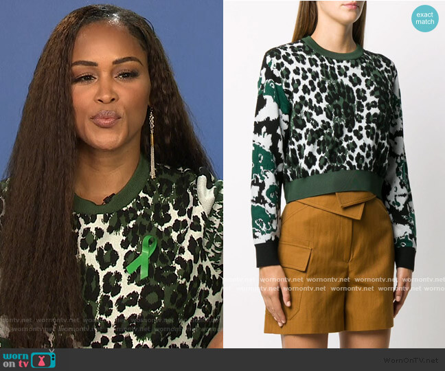 leopard intarsia jumper by Kenzo worn by Eve  on The Talk
