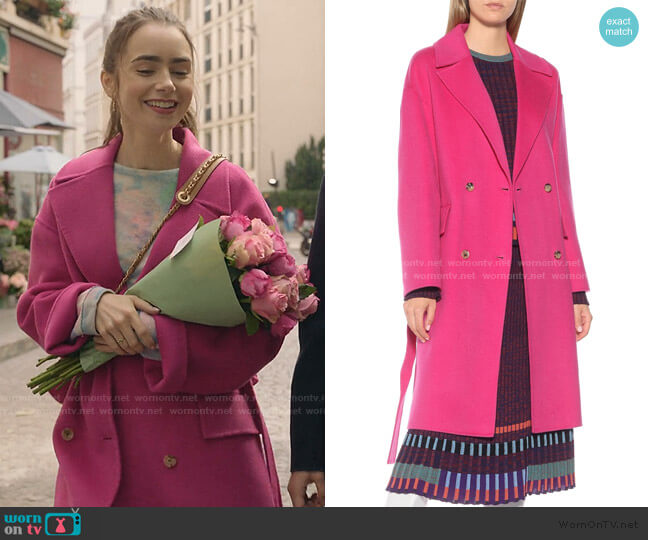 Wool and Cashmere Coat by Kenzo worn by Emily Cooper (Lily Collins) on Emily in Paris