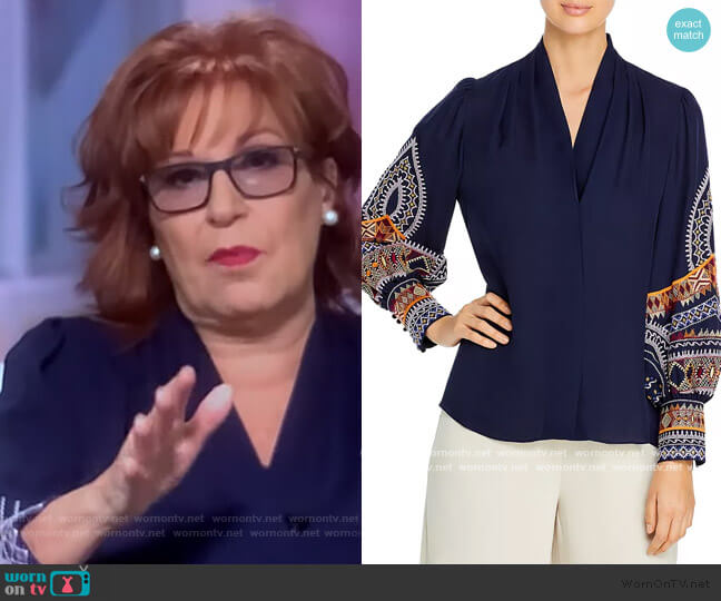 Keely Embroidered Silk Blouse by Kobi Halperin worn by Joy Behar  on The View