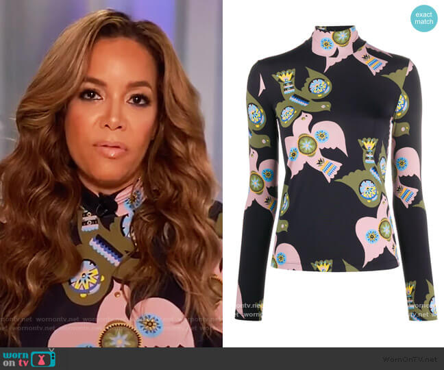 dove-print mock neck top by La Doublej worn by Sunny Hostin  on The View