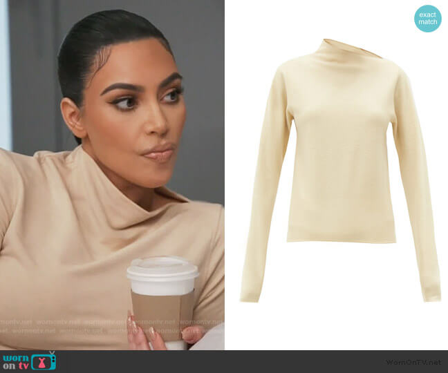 Asymmetric-neck wool-jersey sweater by Lemaire worn by Kim Kardashian  on Keeping Up with the Kardashians