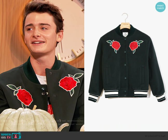 Rose-Embroidered Varsity Jacket by Lacoste