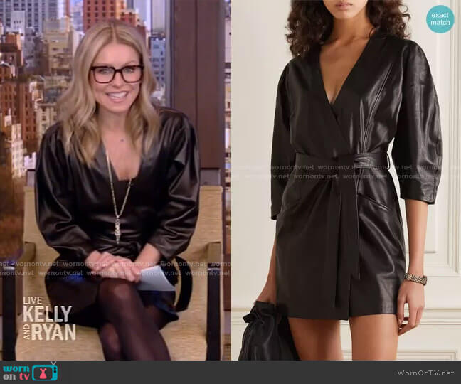 Lanika belted leather mini wrap dress by IRO worn by Kelly Ripa  on Live with Kelly & Ryan