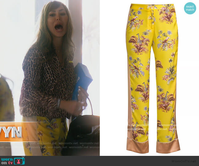 Voyage Jungle-Print Trousers by Le Superbe worn by Kelly Dodd  on The Real Housewives of Orange County