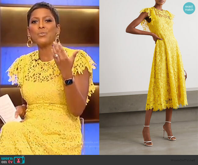 Wildflower guipure lace midi dress by Lela Rose worn by Tamron Hall  on Tamron Hall Show