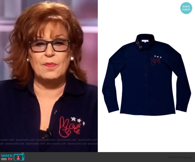 Vote Pique Cotton Shirt by Lingua Franca worn by Joy Behar  on The View
